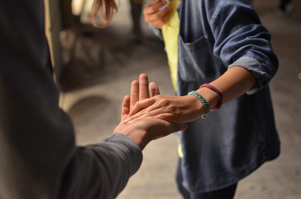 boy holding hand